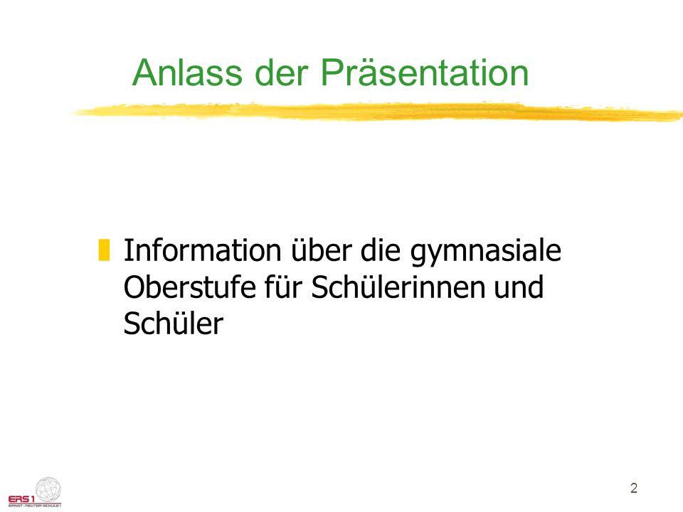 2 Anlass der Präsentation zInformation über die gymnasiale Oberstufe für Schülerinnen und Schüler