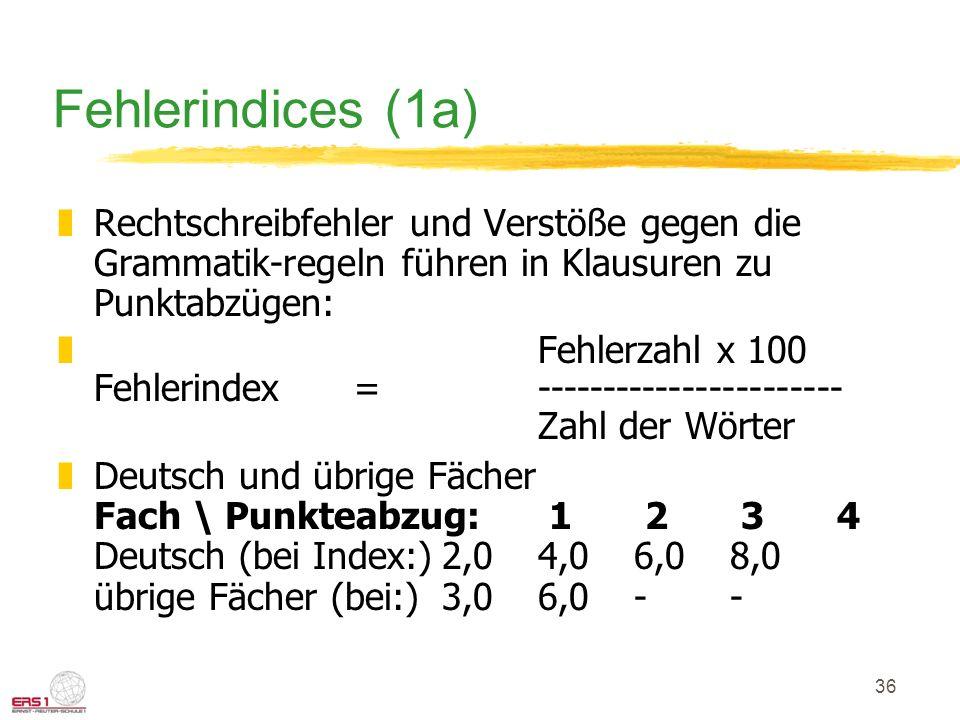36 Fehlerindices (1a) zRechtschreibfehler und Verstöße gegen die Grammatik-regeln führen in Klausuren zu Punktabzügen: zFehlerzahl x 100 Fehlerindex =
