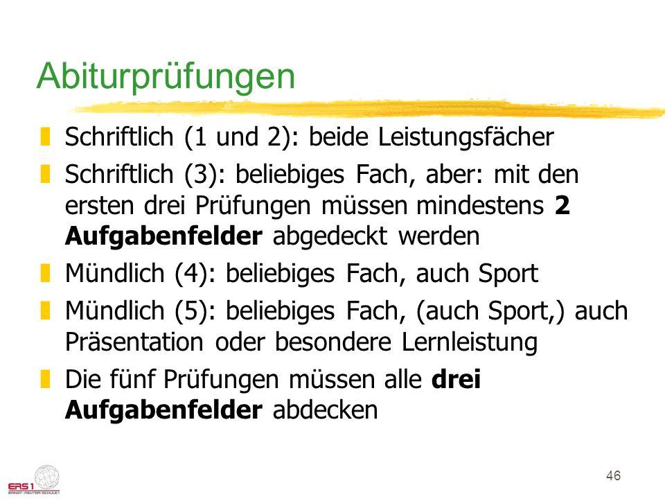 46 Abiturprüfungen zSchriftlich (1 und 2): beide Leistungsfächer zSchriftlich (3): beliebiges Fach, aber: mit den ersten drei Prüfungen müssen mindest