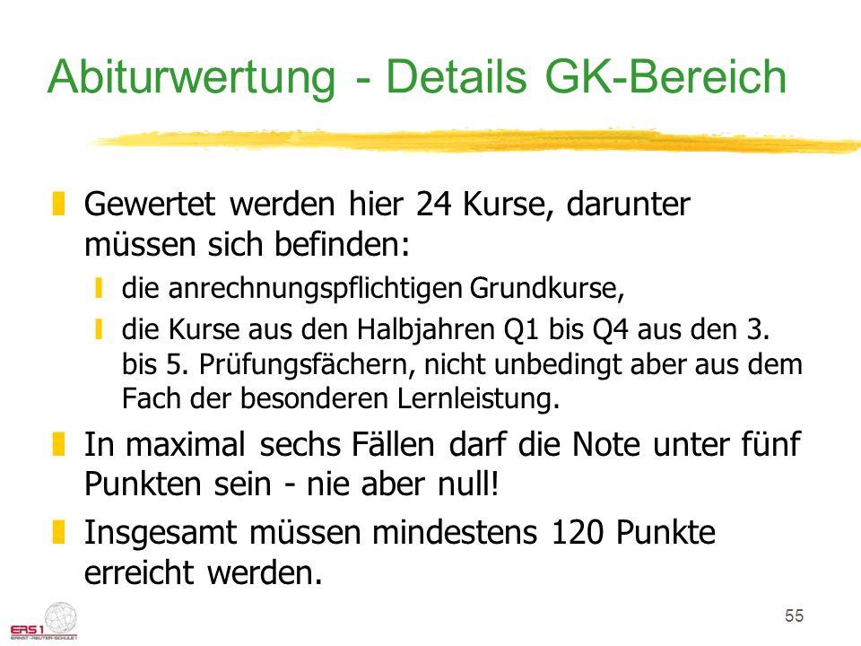 55 Abiturwertung - Details GK-Bereich zGewertet werden hier 24 Kurse, darunter müssen sich befinden: ydie anrechnungspflichtigen Grundkurse, ydie Kurs