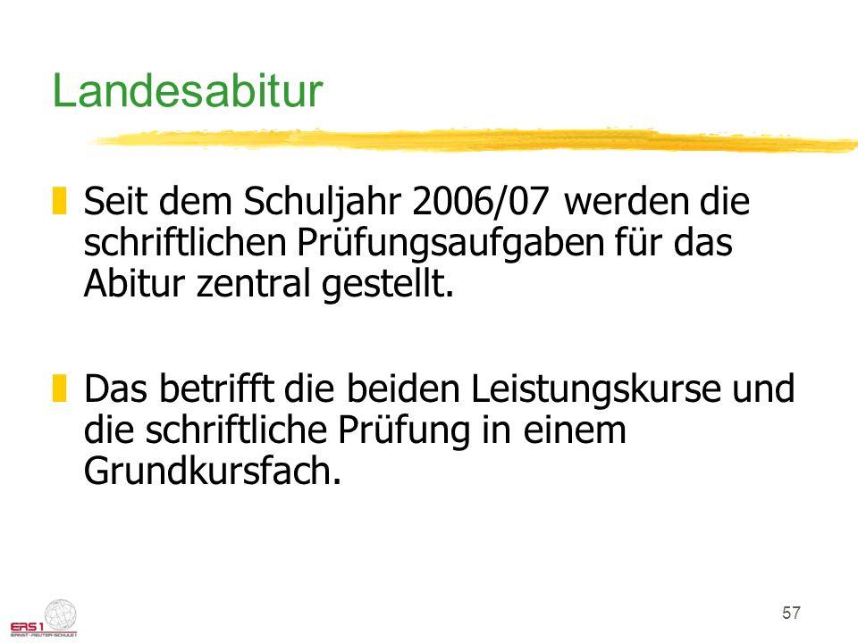 57 Landesabitur zSeit dem Schuljahr 2006/07 werden die schriftlichen Prüfungsaufgaben für das Abitur zentral gestellt. zDas betrifft die beiden Leistu