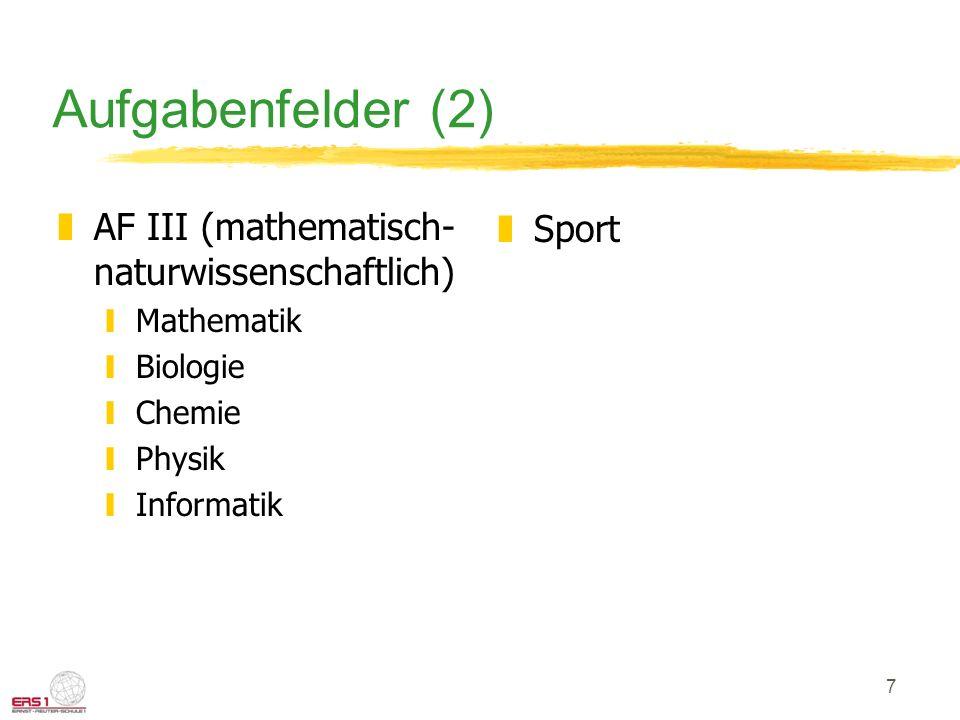 7 Aufgabenfelder (2) zAF III (mathematisch- naturwissenschaftlich) yMathematik yBiologie yChemie yPhysik yInformatik zSport