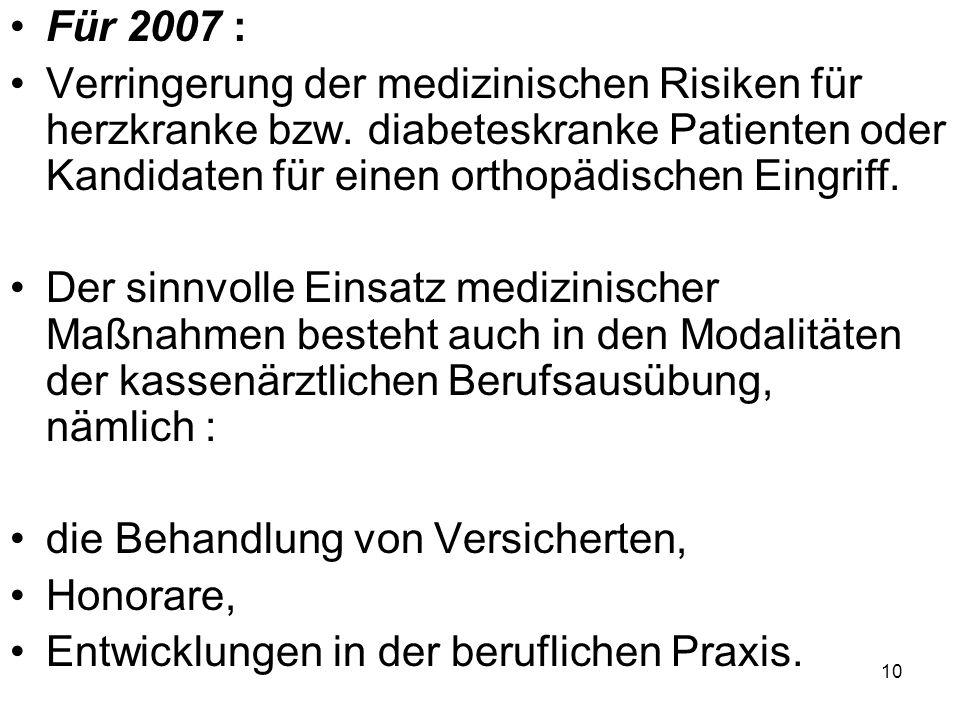 Für 2007 : Verringerung der medizinischen Risiken für herzkranke bzw. diabeteskranke Patienten oder Kandidaten für einen orthopädischen Eingriff. Der