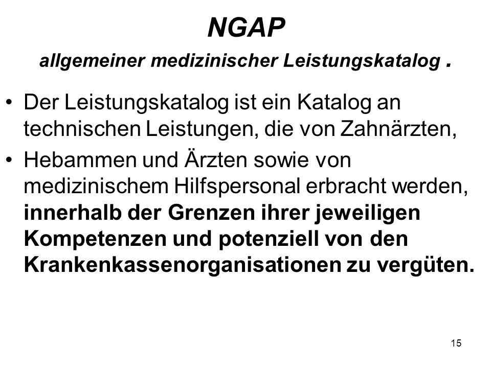 NGAP allgemeiner medizinischer Leistungskatalog. Der Leistungskatalog ist ein Katalog an technischen Leistungen, die von Zahnärzten, Hebammen und Ärzt