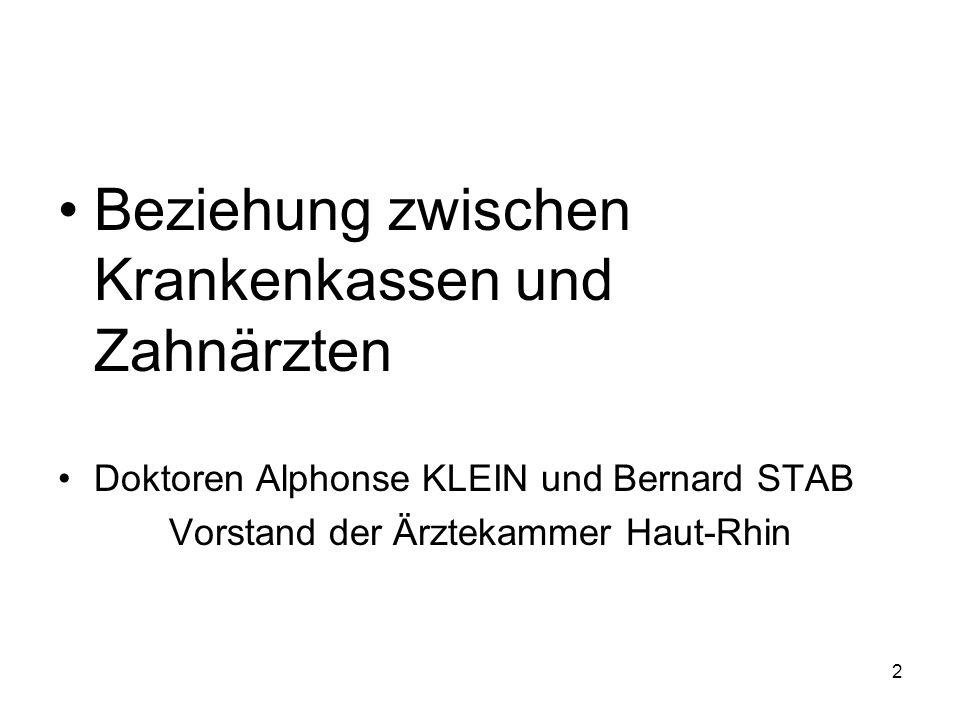 Beziehung zwischen Krankenkassen und Zahnärzten Doktoren Alphonse KLEIN und Bernard STAB Vorstand der Ärztekammer Haut-Rhin 2