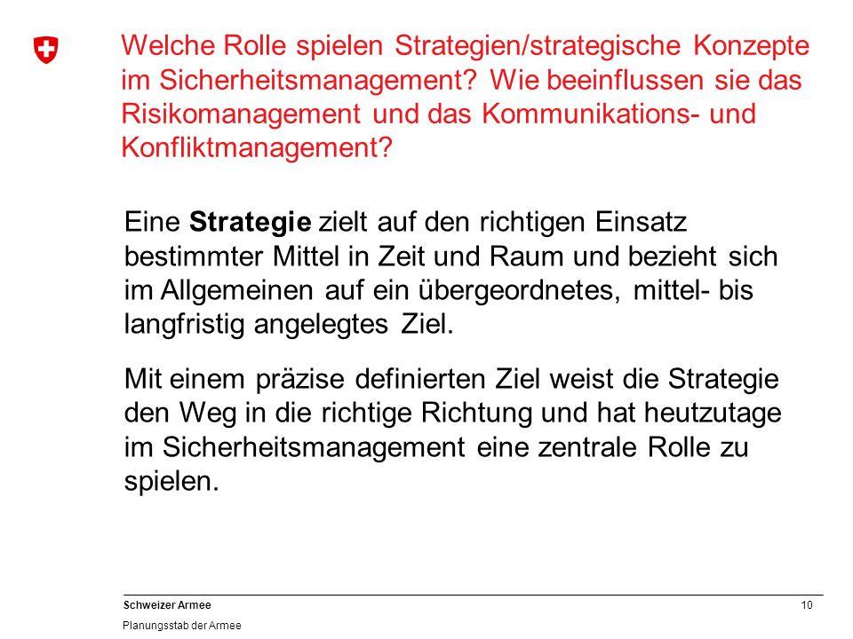 10 Schweizer Armee Planungsstab der Armee Welche Rolle spielen Strategien/strategische Konzepte im Sicherheitsmanagement? Wie beeinflussen sie das Ris