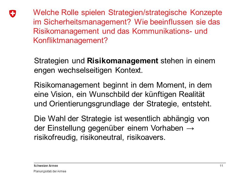 11 Schweizer Armee Planungsstab der Armee Welche Rolle spielen Strategien/strategische Konzepte im Sicherheitsmanagement? Wie beeinflussen sie das Ris
