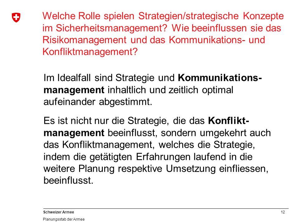 12 Schweizer Armee Planungsstab der Armee Welche Rolle spielen Strategien/strategische Konzepte im Sicherheitsmanagement? Wie beeinflussen sie das Ris