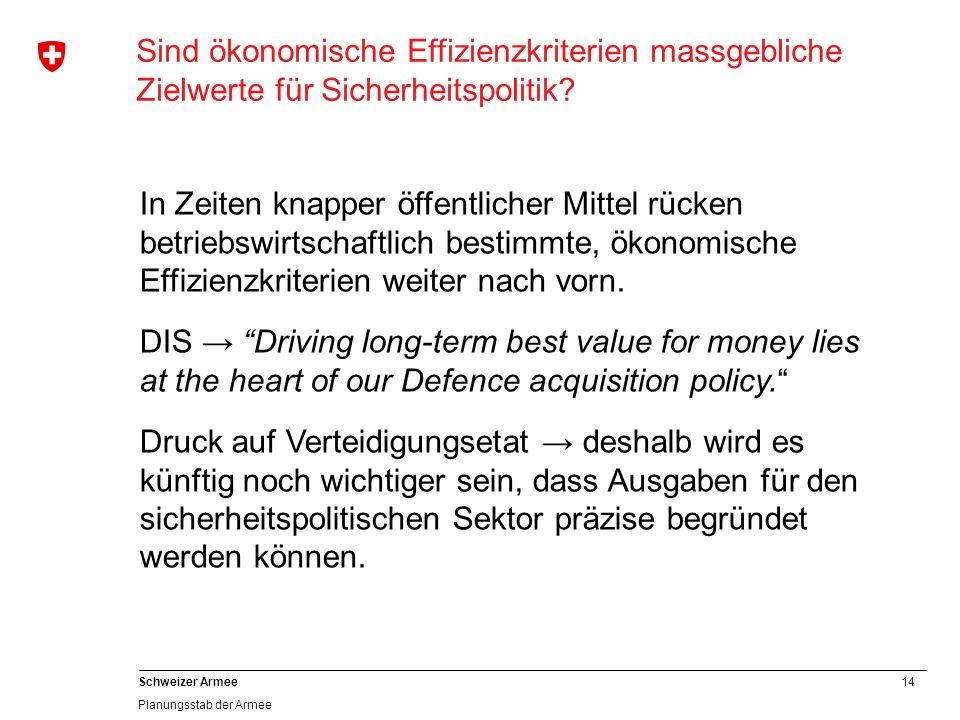 14 Schweizer Armee Planungsstab der Armee Sind ökonomische Effizienzkriterien massgebliche Zielwerte für Sicherheitspolitik? In Zeiten knapper öffentl