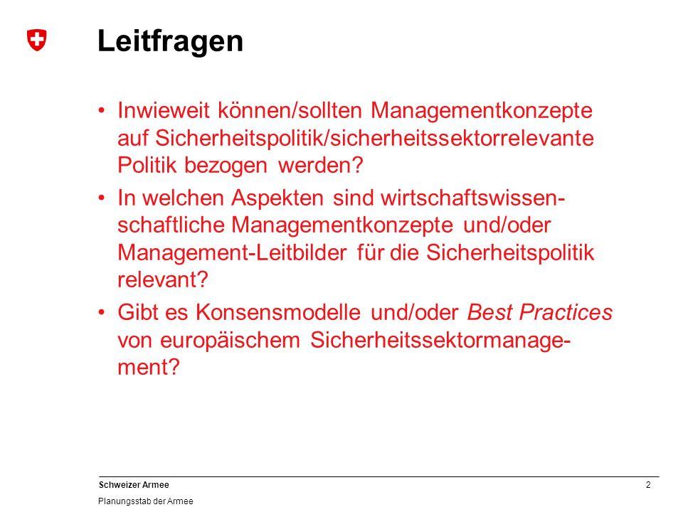 2 Schweizer Armee Planungsstab der Armee Leitfragen Inwieweit können/sollten Managementkonzepte auf Sicherheitspolitik/sicherheitssektorrelevante Politik bezogen werden.