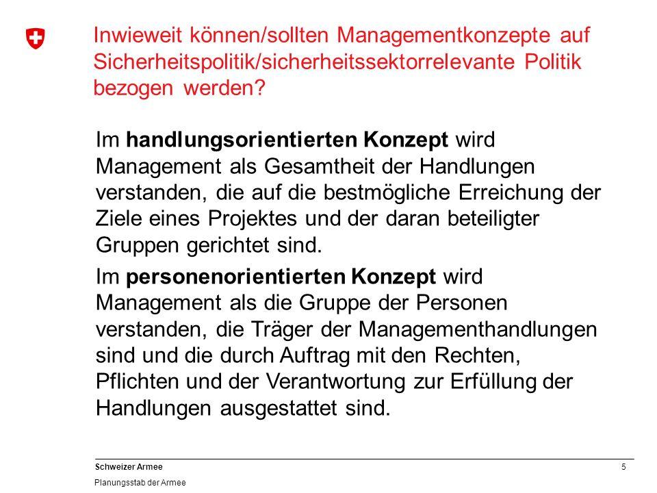5 Schweizer Armee Planungsstab der Armee Inwieweit können/sollten Managementkonzepte auf Sicherheitspolitik/sicherheitssektorrelevante Politik bezogen werden.