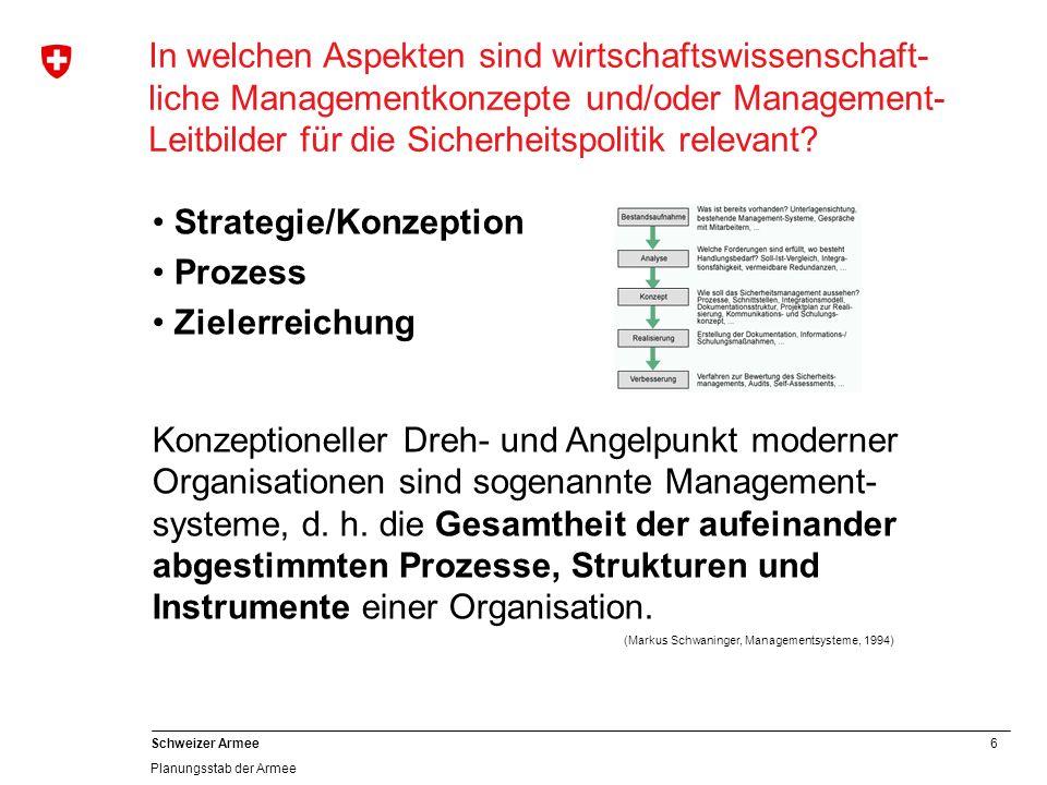 6 Schweizer Armee Planungsstab der Armee In welchen Aspekten sind wirtschaftswissenschaft- liche Managementkonzepte und/oder Management- Leitbilder für die Sicherheitspolitik relevant.