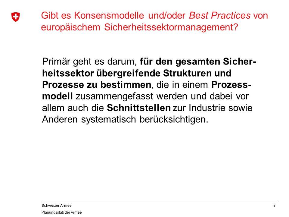 8 Schweizer Armee Planungsstab der Armee Gibt es Konsensmodelle und/oder Best Practices von europäischem Sicherheitssektormanagement? Primär geht es d