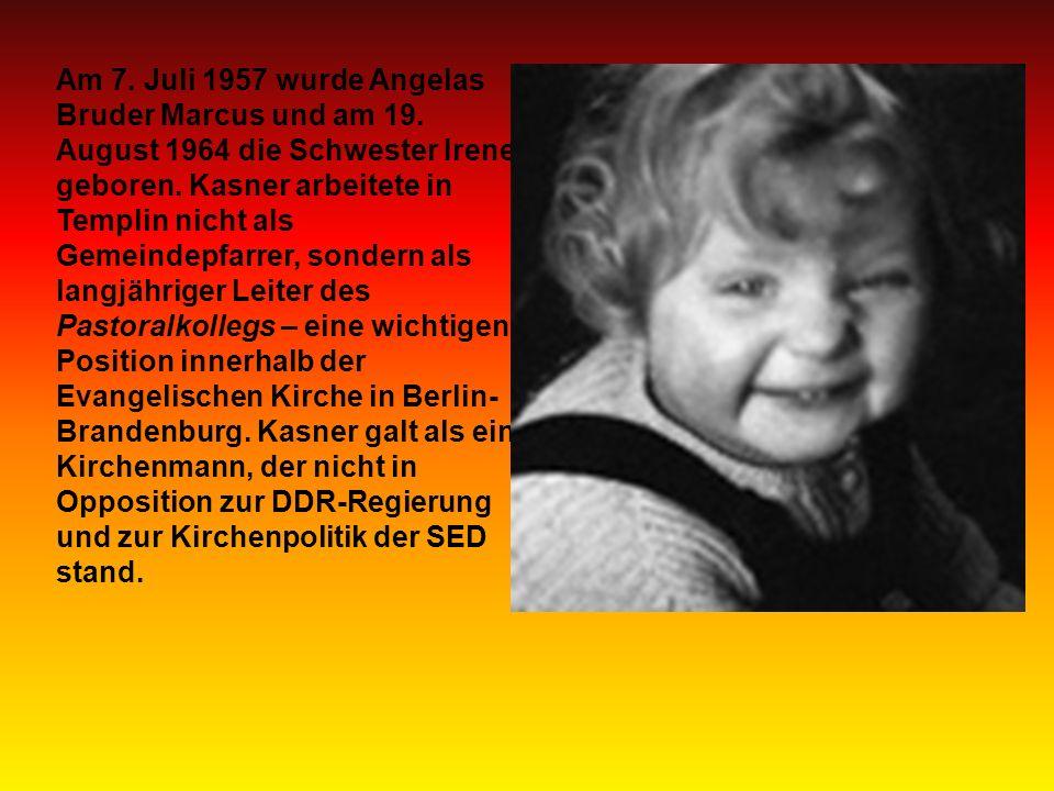 Am 7. Juli 1957 wurde Angelas Bruder Marcus und am 19.
