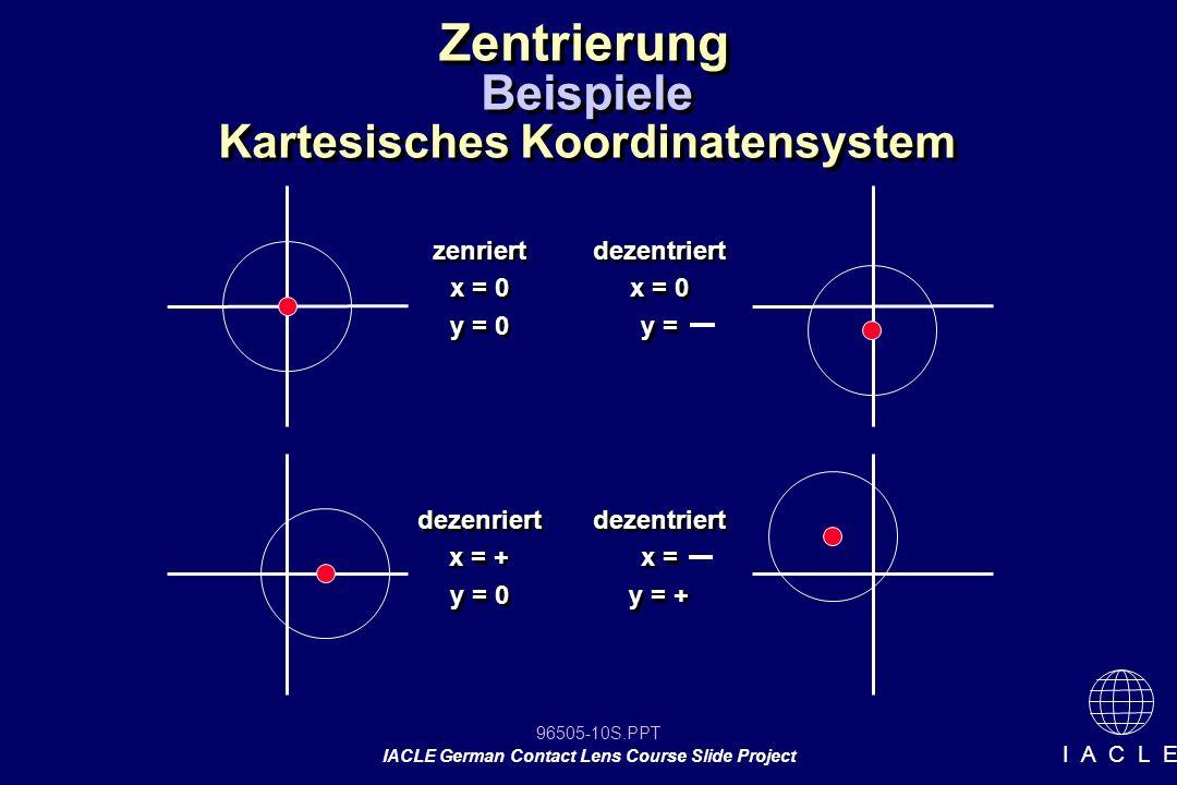 96505-10S.PPT IACLE German Contact Lens Course Slide Project I A C L E Zentrierung Kartesisches Koordinatensystem zenriert x = 0 y = 0 zenriert x = 0