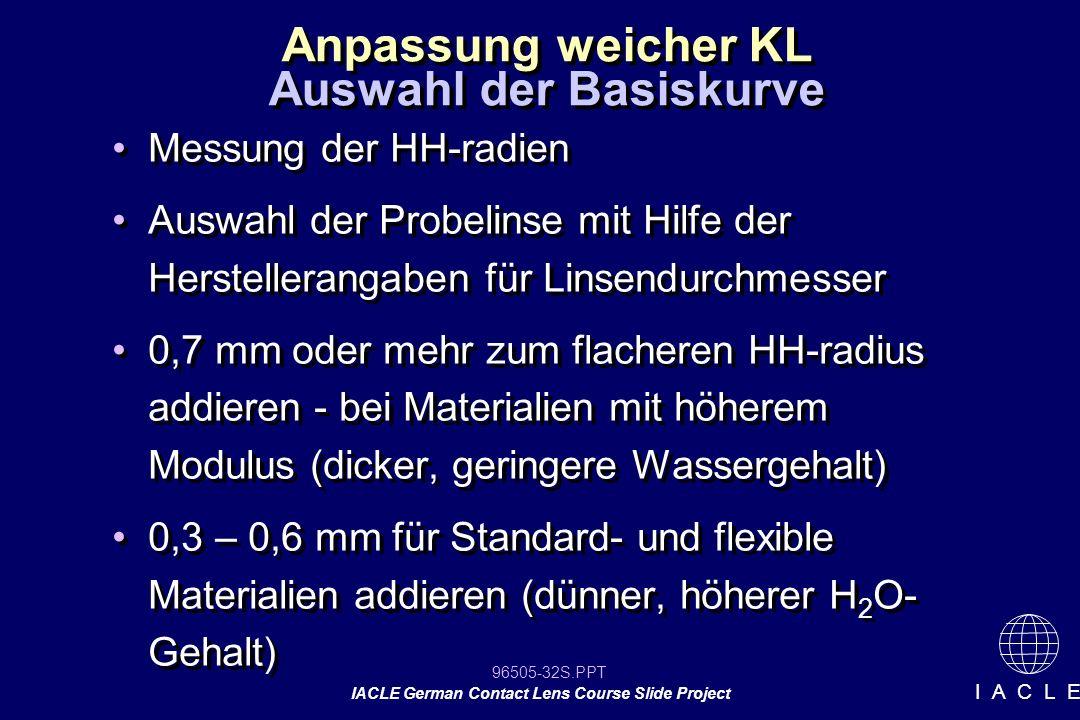 96505-32S.PPT IACLE German Contact Lens Course Slide Project I A C L E Anpassung weicher KL Messung der HH-radien Auswahl der Probelinse mit Hilfe der