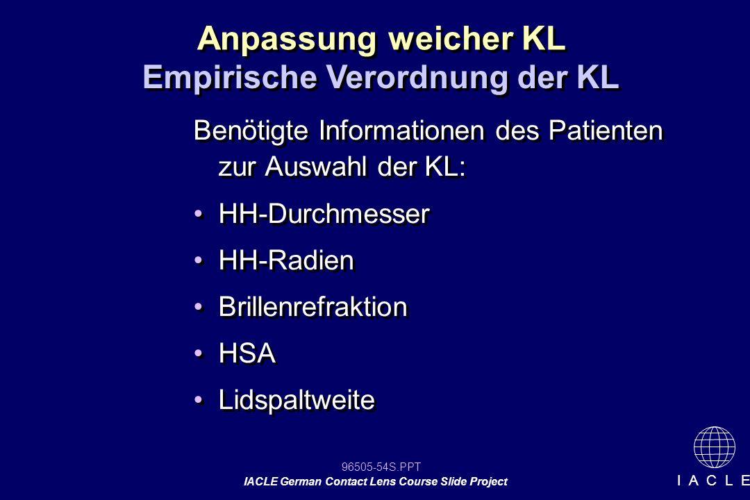96505-54S.PPT IACLE German Contact Lens Course Slide Project I A C L E Benötigte Informationen des Patienten zur Auswahl der KL: HH-Durchmesser HH-Rad