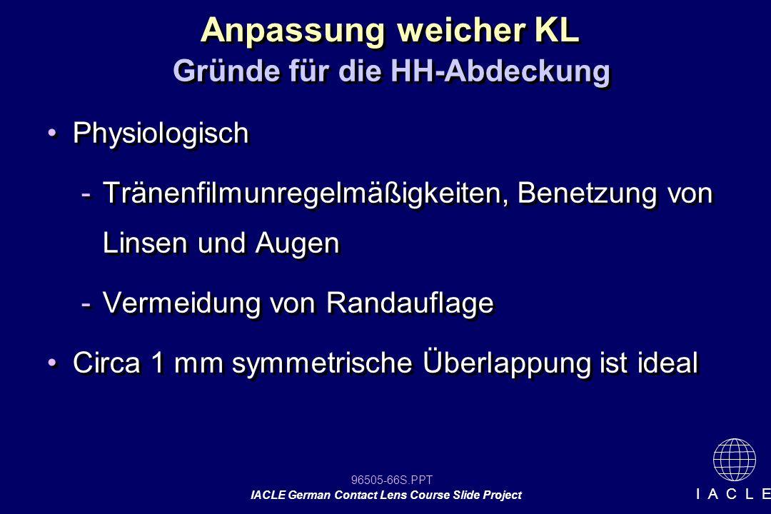 96505-66S.PPT IACLE German Contact Lens Course Slide Project I A C L E Physiologisch -Tränenfilmunregelmäßigkeiten, Benetzung von Linsen und Augen -Ve