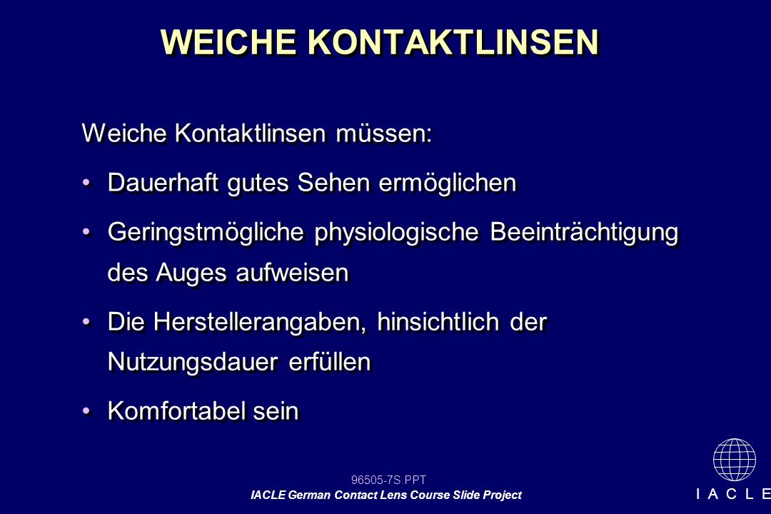 96505-78S.PPT IACLE German Contact Lens Course Slide Project I A C L E [picture slide]