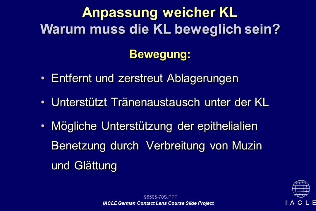 96505-70S.PPT IACLE German Contact Lens Course Slide Project I A C L E Bewegung: Entfernt und zerstreut Ablagerungen Unterstützt Tränenaustausch unter