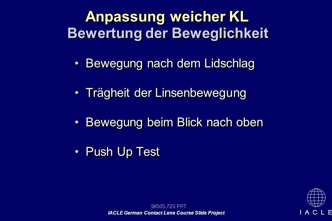 96505-72S.PPT IACLE German Contact Lens Course Slide Project I A C L E Bewegung nach dem Lidschlag Trägheit der Linsenbewegung Bewegung beim Blick nac