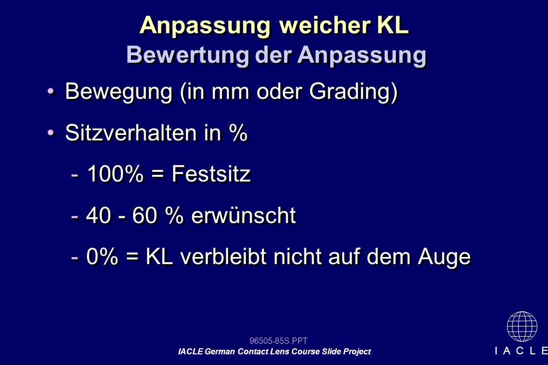 96505-85S.PPT IACLE German Contact Lens Course Slide Project I A C L E Bewegung (in mm oder Grading) Sitzverhalten in % -100% = Festsitz -40 - 60 % er