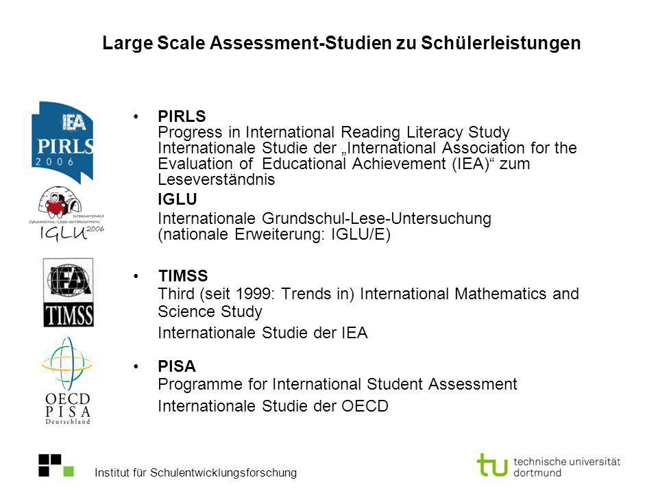 Institut für Schulentwicklungsforschung Large Scale Assessment-Studien zu Schülerleistungen PIRLS Progress in International Reading Literacy Study Int