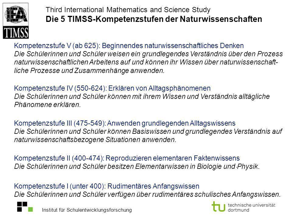 Institut für Schulentwicklungsforschung Third International Mathematics and Science Study Die 5 TIMSS-Kompetenzstufen der Naturwissenschaften Kompeten