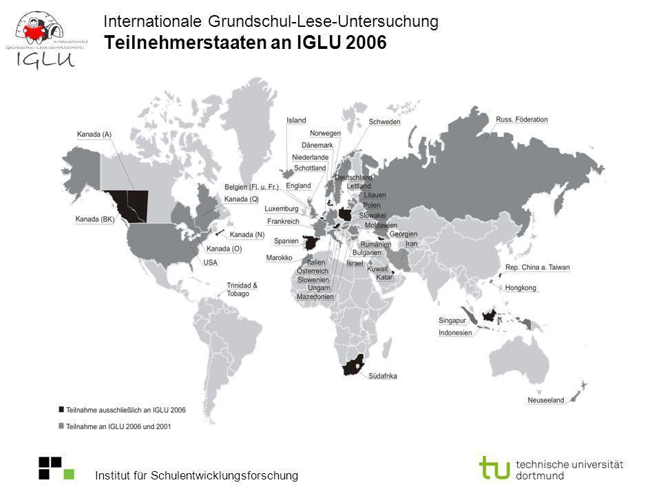 Institut für Schulentwicklungsforschung Internationale Grundschul-Lese-Untersuchung Teilnahmequoten von IGLU 2006 in Deutschland (ungewichtet; Angaben in Prozent) Insgesamt wurden 7899 Kinder an 405 Schulen getestet.