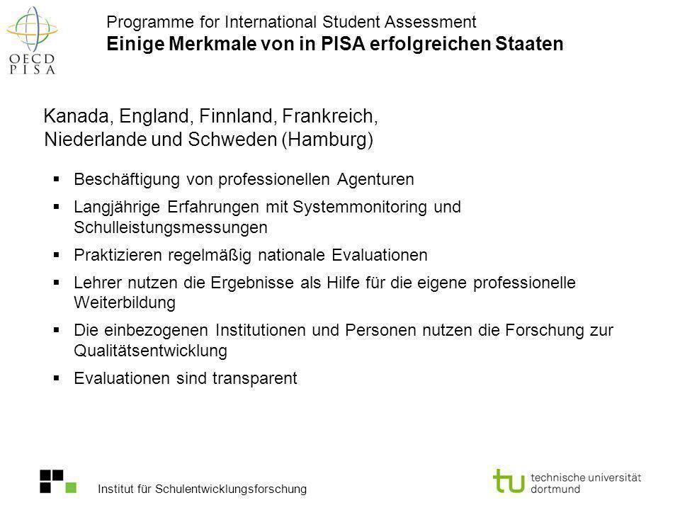 Institut für Schulentwicklungsforschung Kanada, England, Finnland, Frankreich, Niederlande und Schweden (Hamburg) Beschäftigung von professionellen Ag