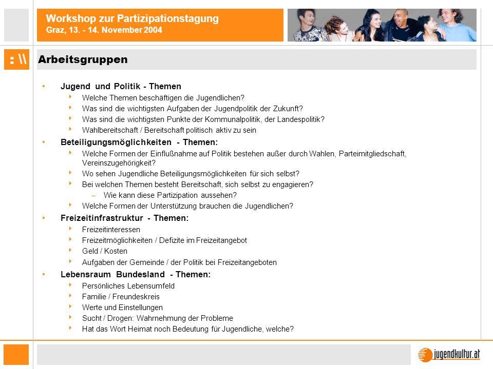 Workshop zur Partizipationstagung Graz, 13.- 14.