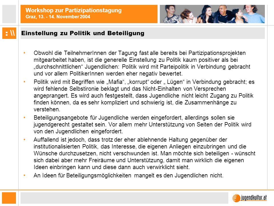 Workshop zur Partizipationstagung Graz, 13. - 14. November 2004 : \\ Einstellung zu Politik und Beteiligung Obwohl die TeilnehmerInnen der Tagung fast