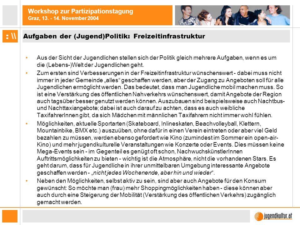 Workshop zur Partizipationstagung Graz, 13. - 14. November 2004 : \\ Aufgaben der (Jugend)Politik: Freizeitinfrastruktur Aus der Sicht der Jugendliche