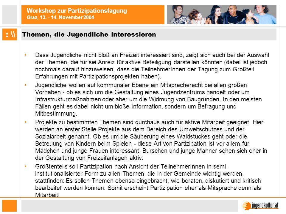Workshop zur Partizipationstagung Graz, 13. - 14. November 2004 : \\ Themen, die Jugendliche interessieren Dass Jugendliche nicht bloß an Freizeit int