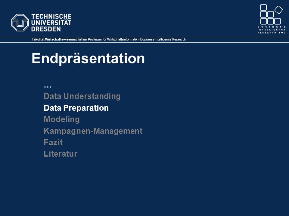 Fakultät Wirtschaftswissenschaften Professur für Wirtschaftsinformatik – Business Intelligence Research Endpräsentation … Data Understanding Data Preparation Modeling Kampagnen-Management Fazit Literatur