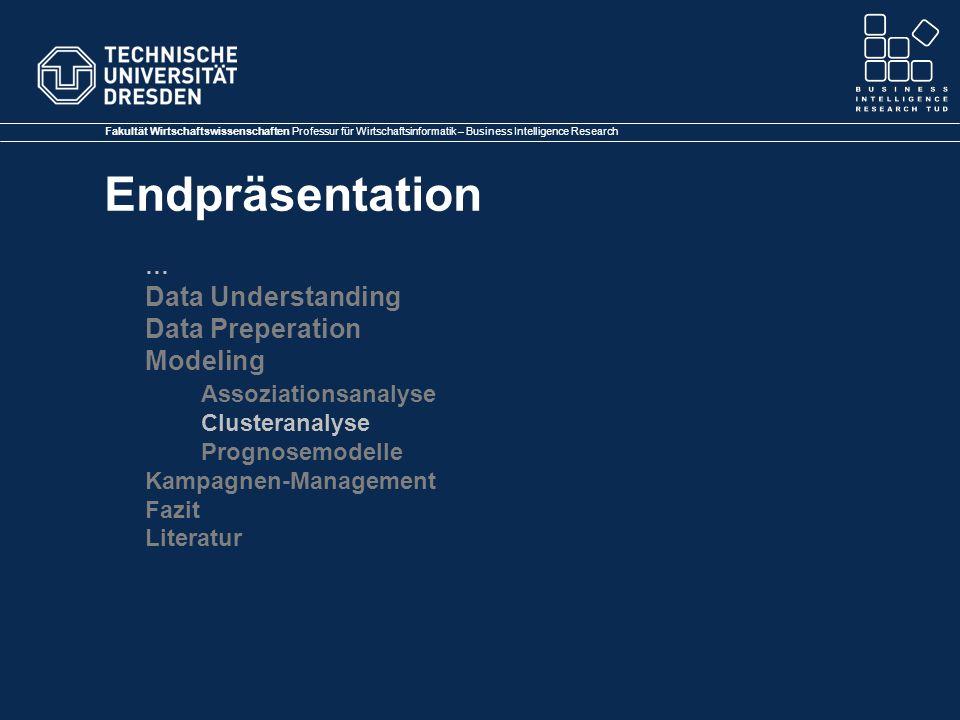 Fakultät Wirtschaftswissenschaften Professur für Wirtschaftsinformatik – Business Intelligence Research Endpräsentation … Data Understanding Data Preperation Modeling Assoziationsanalyse Clusteranalyse Prognosemodelle Kampagnen-Management Fazit Literatur