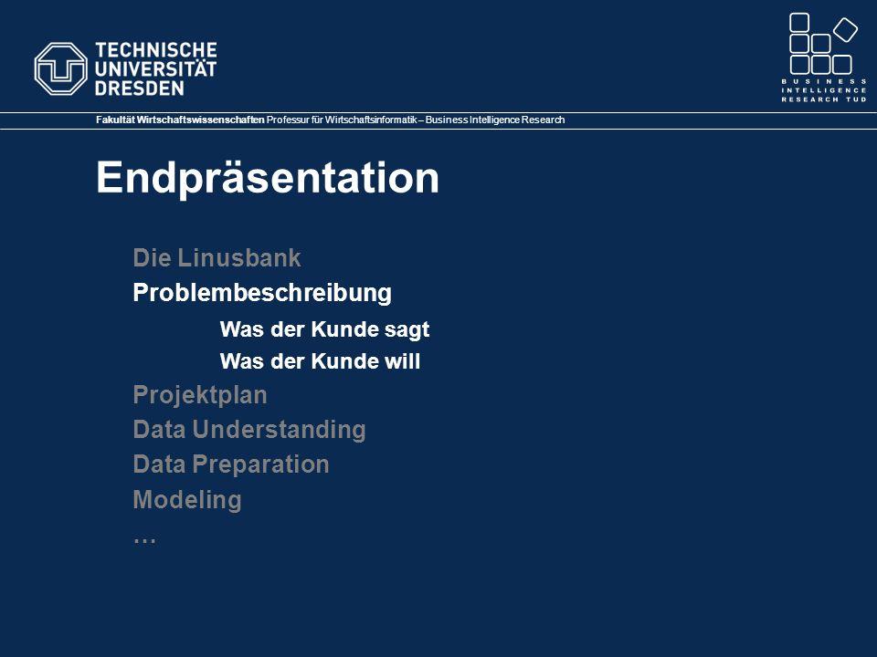 Fakultät Wirtschaftswissenschaften Professur für Wirtschaftsinformatik – Business Intelligence Research Endpräsentation Die Linusbank Problembeschreibung Was der Kunde sagt Was der Kunde will Projektplan Data Understanding Data Preparation Modeling …