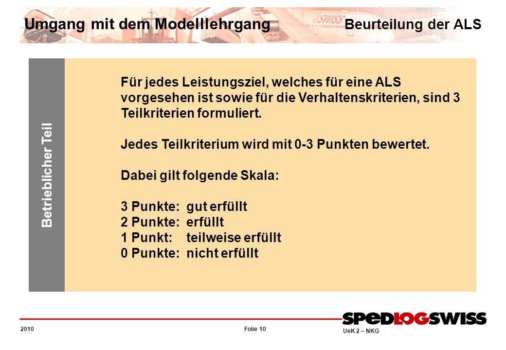 Folie 10 2010 UeK 2 – NKG Für jedes Leistungsziel, welches für eine ALS vorgesehen ist sowie für die Verhaltenskriterien, sind 3 Teilkriterien formuli