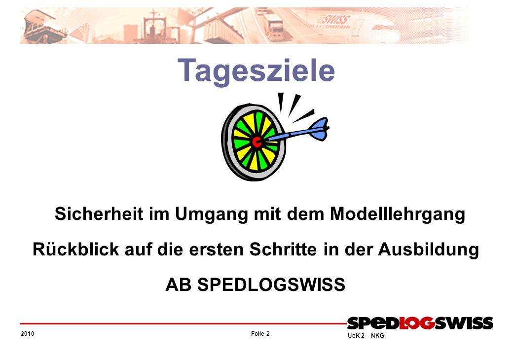 Folie 2 2010 UeK 2 – NKG Tagesziele Sicherheit im Umgang mit dem Modelllehrgang Rückblick auf die ersten Schritte in der Ausbildung AB SPEDLOGSWISS