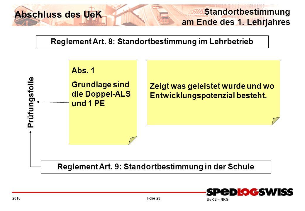 Folie 28 2010 UeK 2 – NKG Reglement Art. 8: Standortbestimmung im Lehrbetrieb Reglement Art. 9: Standortbestimmung in der Schule Abs. 1 Grundlage sind