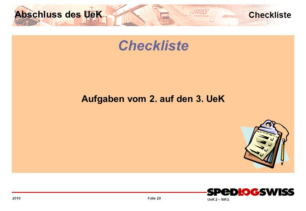 Folie 29 2010 UeK 2 – NKG Checkliste Abschluss des UeK Checkliste Aufgaben vom 2. auf den 3. UeK
