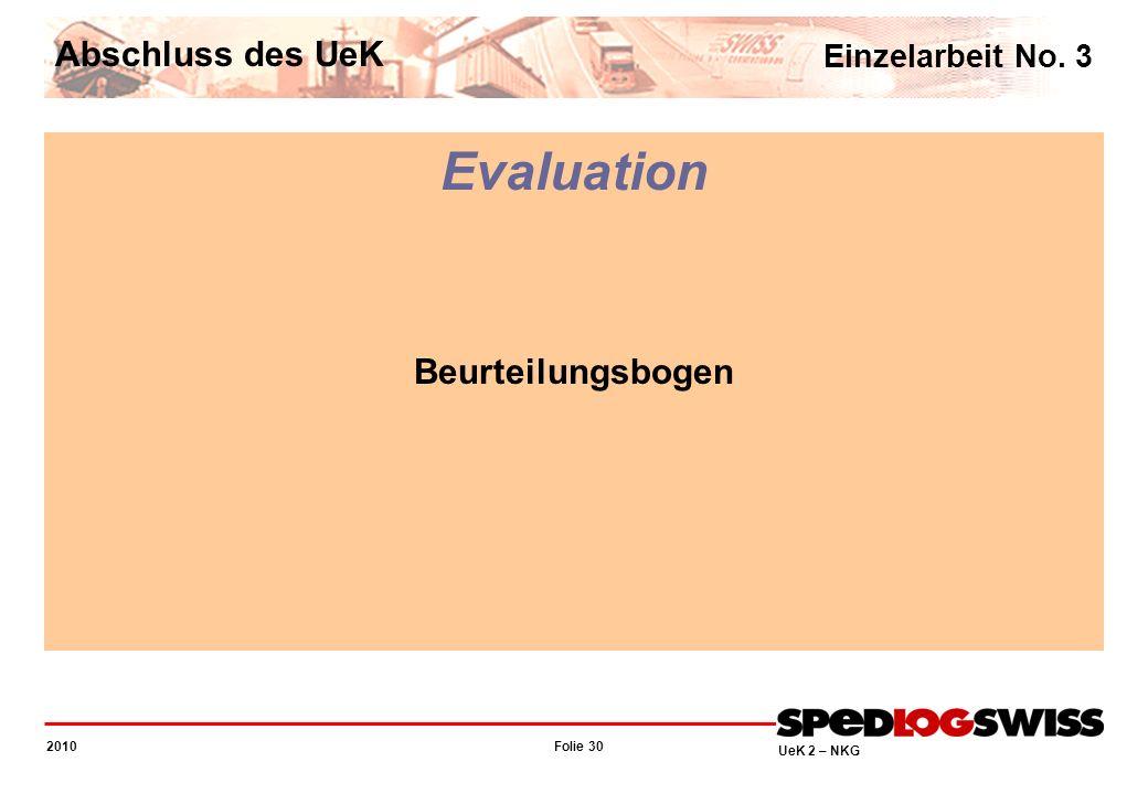 Folie 30 2010 UeK 2 – NKG Evaluation Beurteilungsbogen Einzelarbeit No. 3 Abschluss des UeK