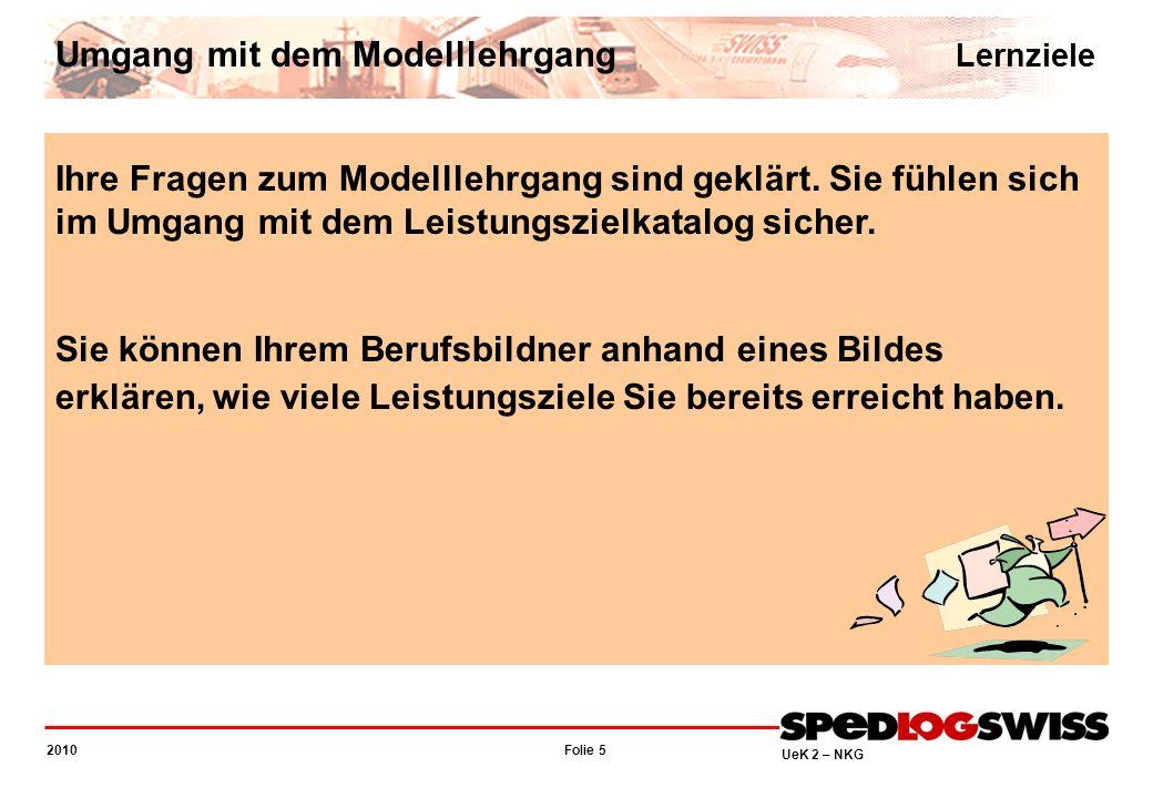 Folie 5 2010 UeK 2 – NKG Ihre Fragen zum Modelllehrgang sind geklärt. Sie fühlen sich im Umgang mit dem Leistungszielkatalog sicher. Sie können Ihrem