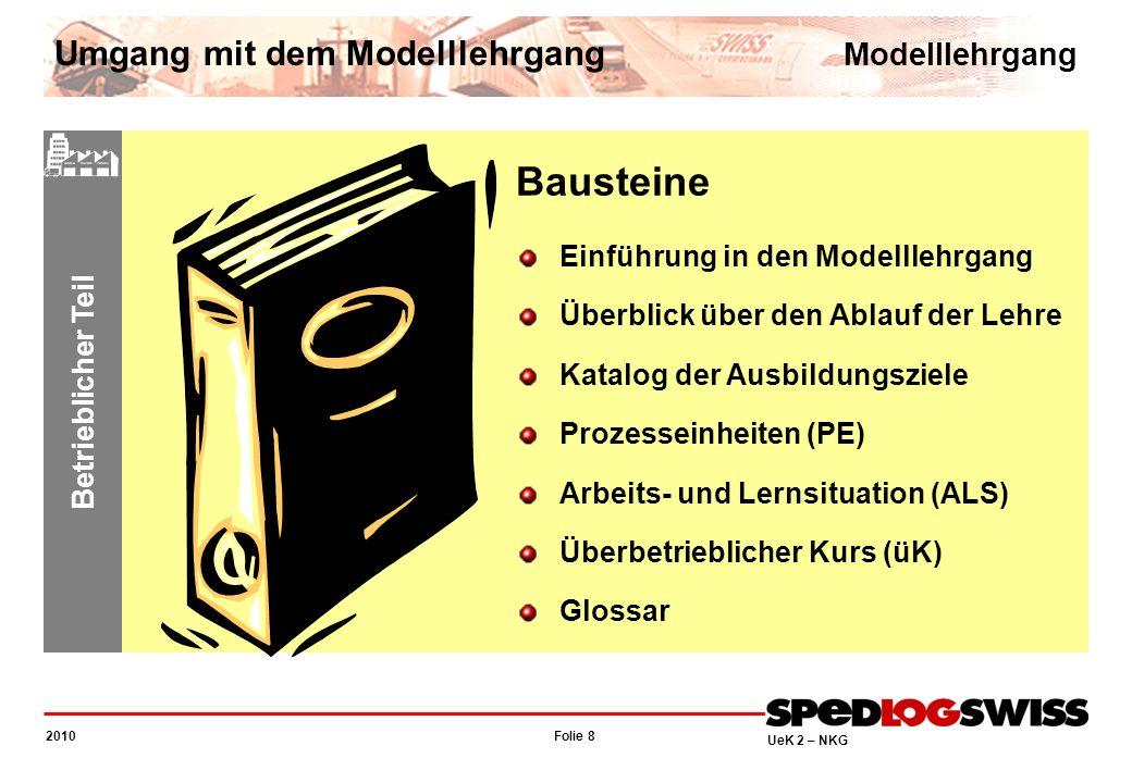 Folie 8 2010 UeK 2 – NKG Betrieblicher Teil Bausteine Einführung in den Modelllehrgang Überblick über den Ablauf der Lehre Katalog der Ausbildungsziel