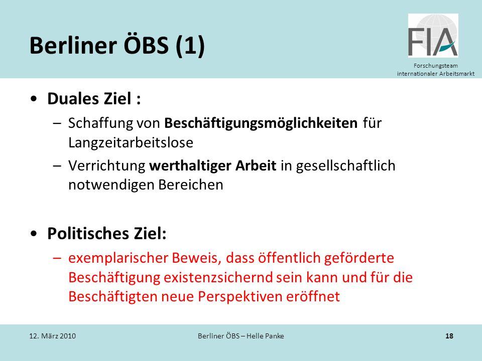 Forschungsteam internationaler Arbeitsmarkt Berliner ÖBS (1) Duales Ziel : –Schaffung von Beschäftigungsmöglichkeiten für Langzeitarbeitslose –Verrich