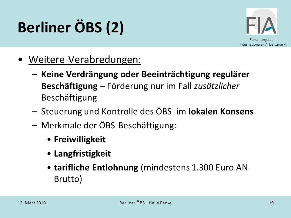 Forschungsteam internationaler Arbeitsmarkt Berliner ÖBS (2) Weitere Verabredungen: –Keine Verdrängung oder Beeinträchtigung regulärer Beschäftigung –