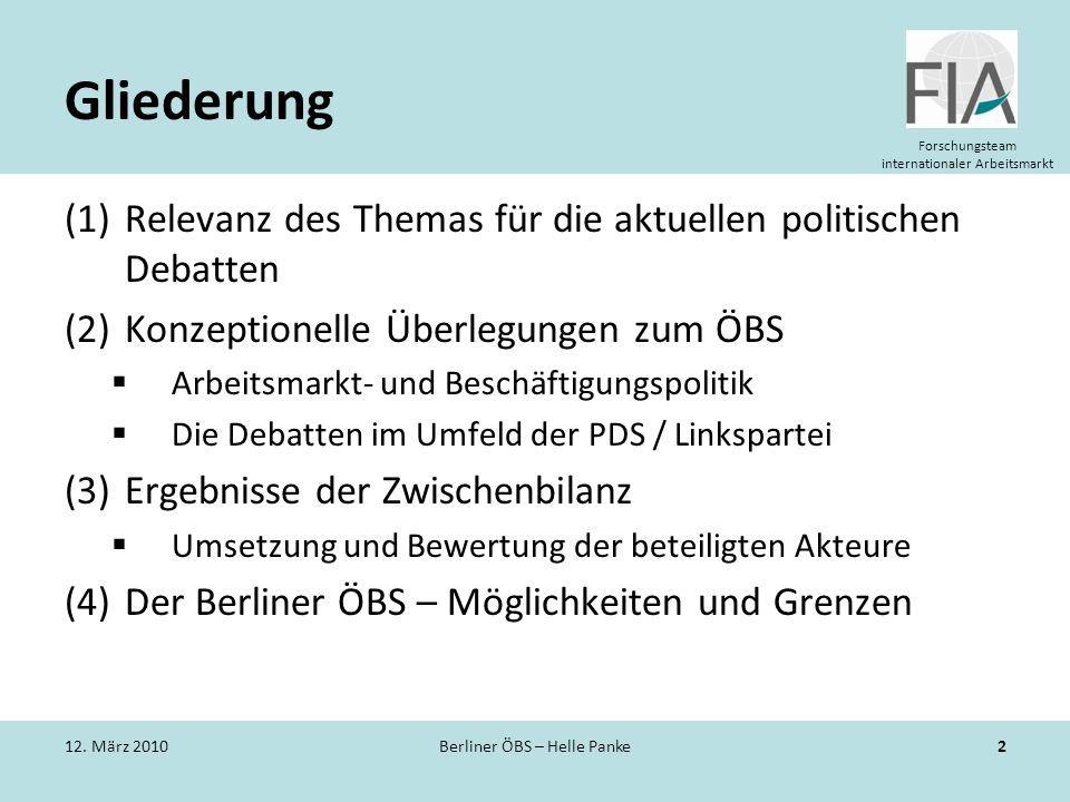 Forschungsteam internationaler Arbeitsmarkt Gliederung (1)Relevanz des Themas für die aktuellen politischen Debatten (2)Konzeptionelle Überlegungen zu