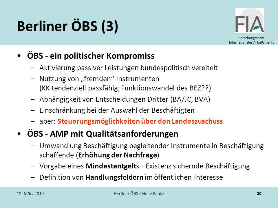 Forschungsteam internationaler Arbeitsmarkt Berliner ÖBS (3) ÖBS - ein politischer Kompromiss –Aktivierung passiver Leistungen bundespolitisch vereite