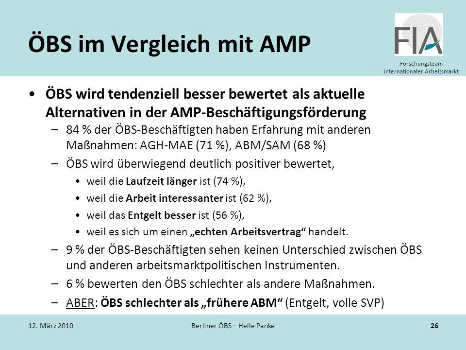 Forschungsteam internationaler Arbeitsmarkt ÖBS im Vergleich mit AMP ÖBS wird tendenziell besser bewertet als aktuelle Alternativen in der AMP-Beschäf