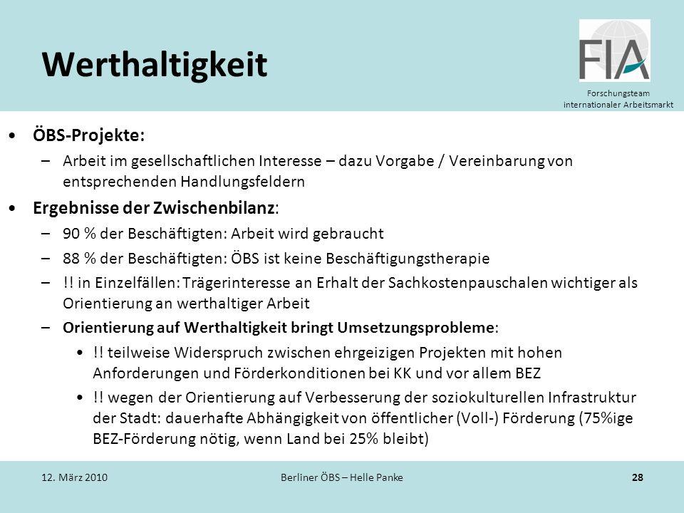 Forschungsteam internationaler Arbeitsmarkt Werthaltigkeit ÖBS-Projekte: –Arbeit im gesellschaftlichen Interesse – dazu Vorgabe / Vereinbarung von ent